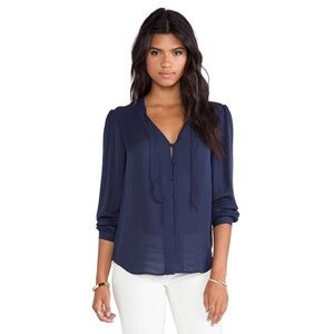 Joie | Navy Clarisse Silk Sheer Button Down Blouse